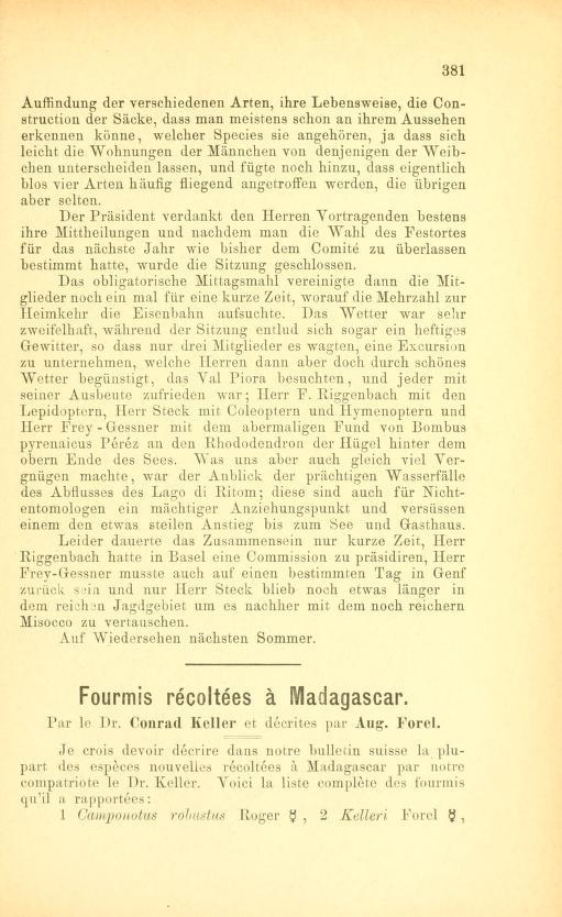 Fourmis récoltées à Madagascar par le Dr. Conrad Keller