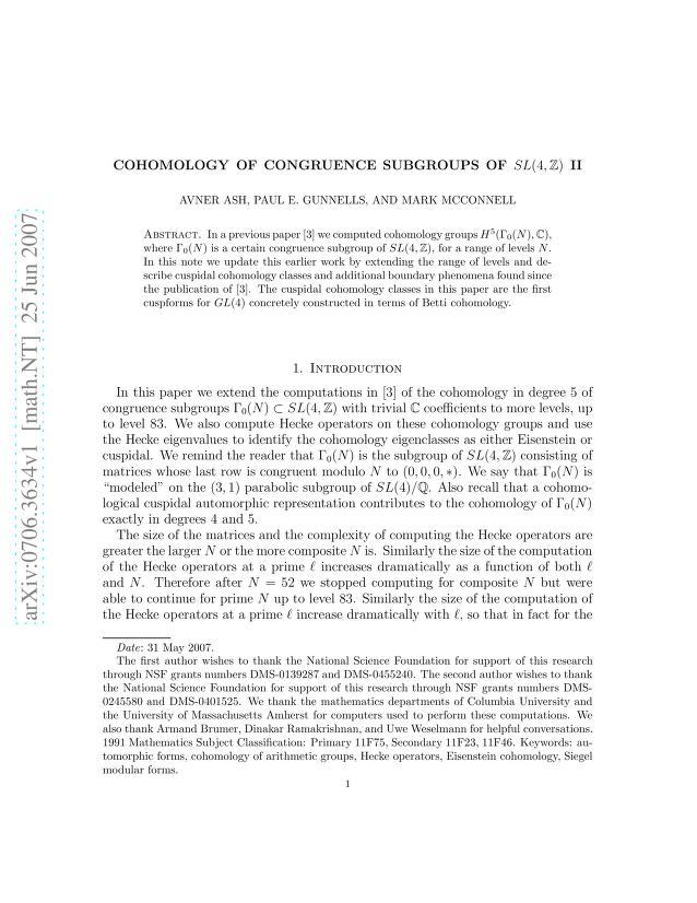 Avner Ash - Cohomology of Congruence Subgroups of SL(4,\Z) II
