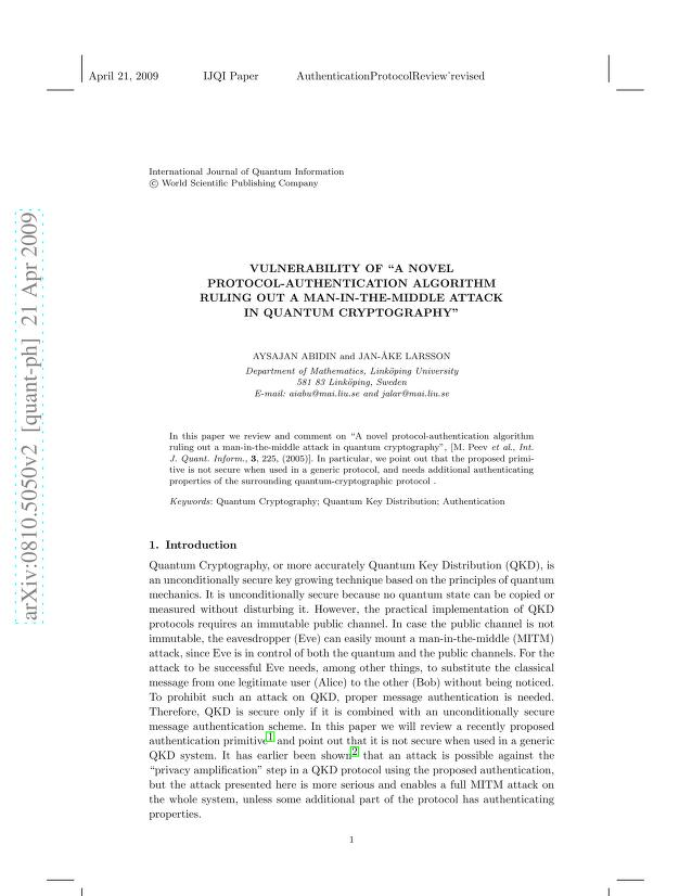 """Aysajan Abidin - Vulnerability of """"A novel protocol-authentication algorithm ruling out a man-in-the-middle attack in Quantum Cryptography"""""""
