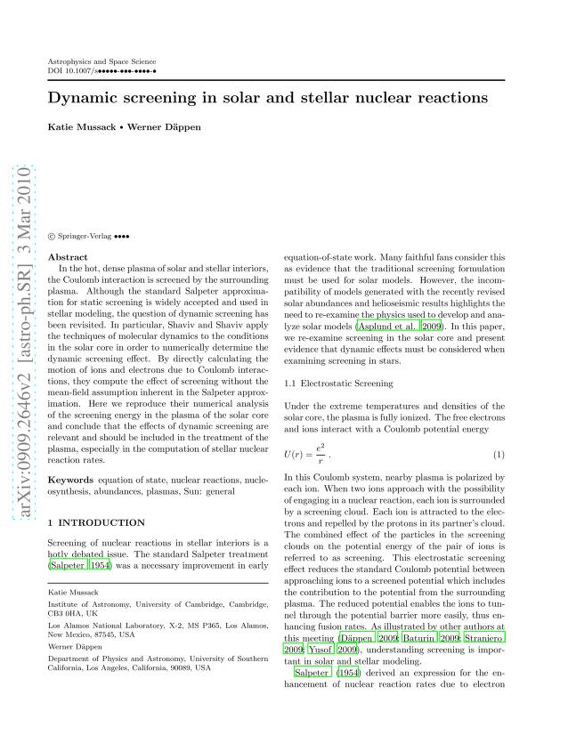 Katie Mussack - Dynamic screening in solar and stellar nuclear reactions