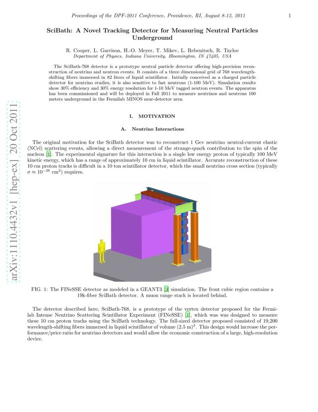 R. Cooper - SciBath: A Novel Tracking Detector for Measuring Neutral Particles Underground