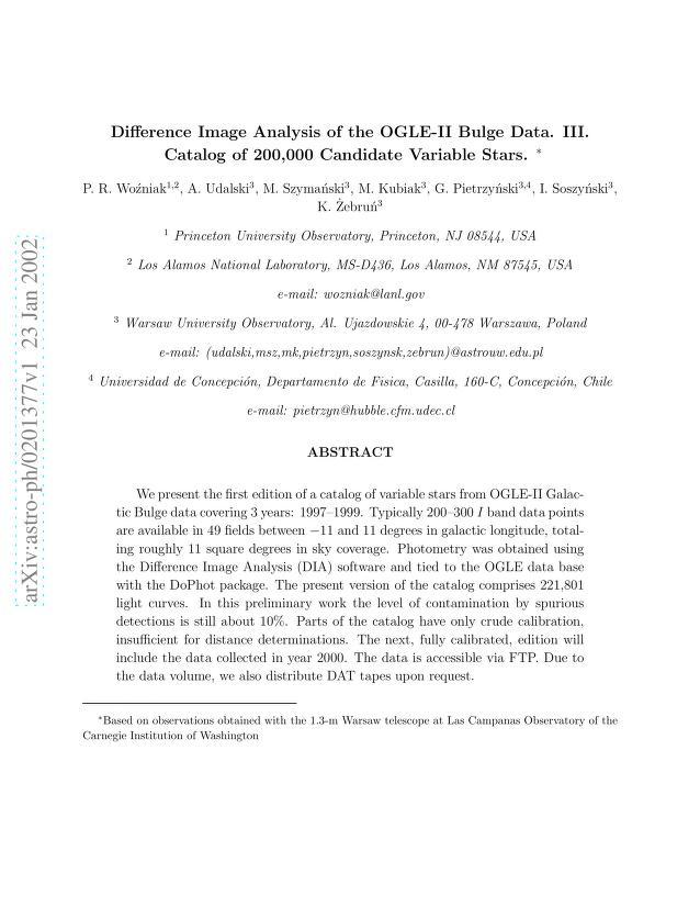 P. R. Wozniak - Difference Image Analysis of the OGLE-II Bulge Data. III. Catalog of 200,000 Candidate Variable Stars