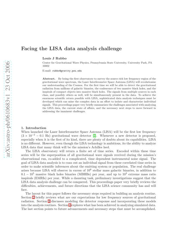 Louis J. Rubbo - Facing the LISA Data Analysis Challenge