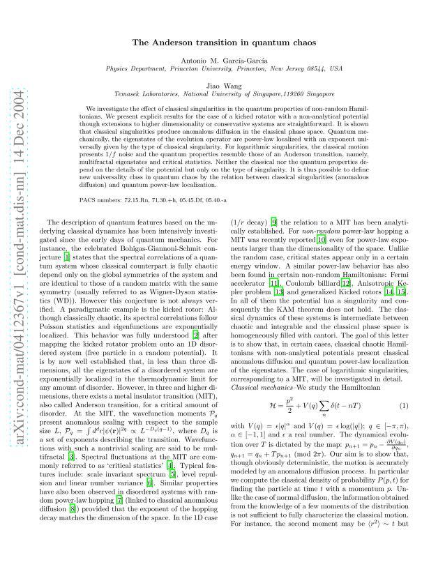 Antonio M. Garcia-Garcia - The Anderson transition in quantum chaos