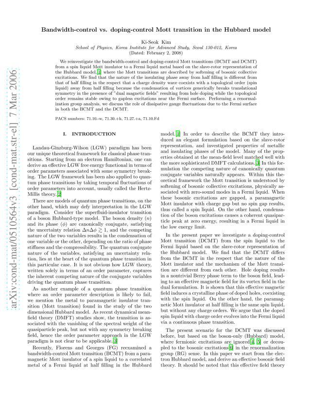 Ki-Seok Kim - Bandwidth-control vs. doping-control Mott transition in the Hubbard model