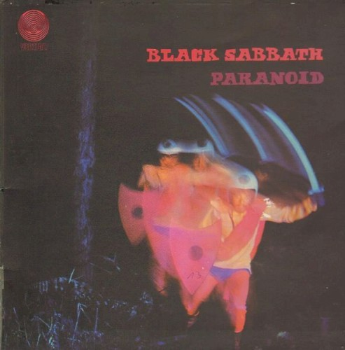 Album cover for Paranoid by Black Sabbath.