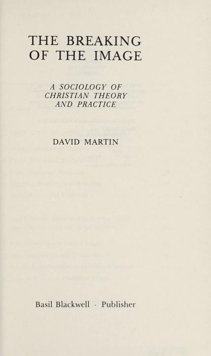 The breaking of the image by Martin, David