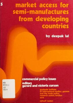 Cover of: Market access for semi-manufactures from developing countries | Deepak Lal