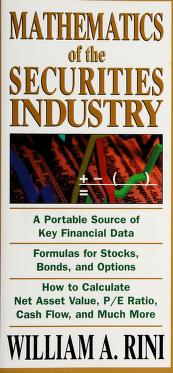Cover of: Mathematics of the Securities Industry |